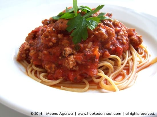 Recipe for Quick Meat Sauce taken from www.hookedonheat.com. Visit site for detailed recipe.