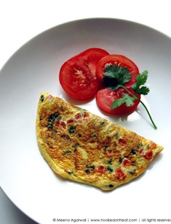 Recipe for Indian Masala Omelette taken from www.hookedonheat.com. Visit site for detailed recipe.