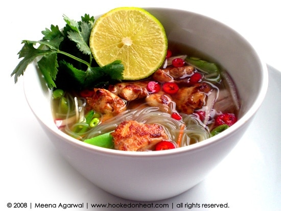 Recipe for Chicken Noodle Soup, taken from www.hookedonheat.com. Visit site for detailed recipe.