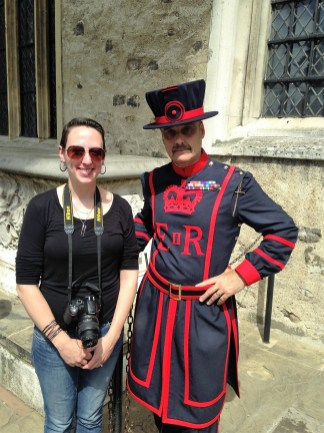 Posing with a Yeoman Warder, known as a Beefeater.