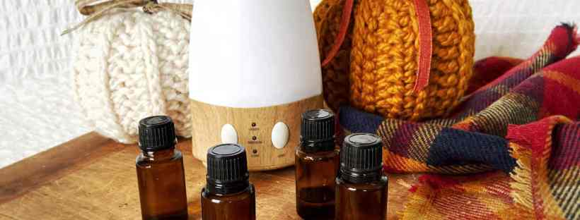 A cream and butterscotch pumpkins flank an essential oil diffuser, with four brown glass essential oil bottles in front of them on a wood surface surrounded by two sprigs of vanilla beans, a gathered bundle of cinnamon sticks, and a fall colored plaid scarf.