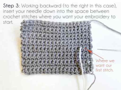 Step 3: Working backward, insert your needle down into the space between cochet stitches where you want your embroidery to start.