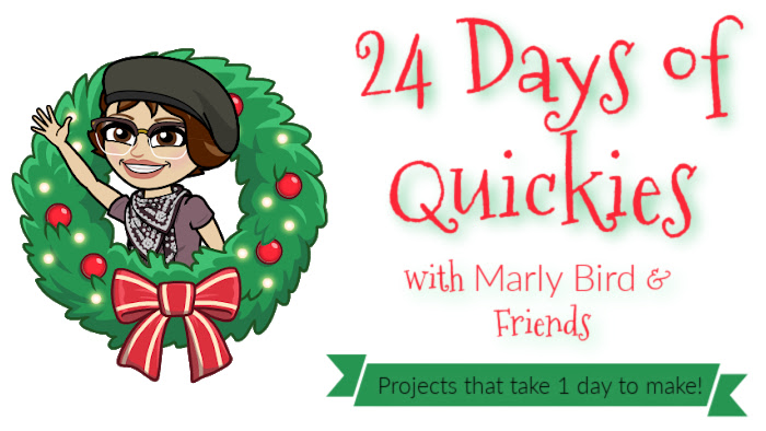 """""""24 Days of Quickies with Marly Bird & Friends. Projects that take 1 day to make!"""" A cartoon rendering of a short-haired brunette with classes and wearing a beret, purple T-shirt, and a scarf waving hello is popping out of a cartoon Christmas wreath with red ornaments, lights and a red bow."""