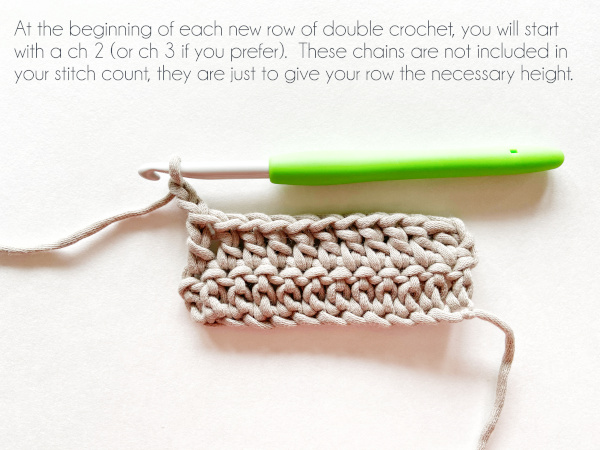 """A swatch of double crochet in taupe color shows a hook holding a working loop after making two chain stitches for the beginning of the next row. Text on the photo reads """"At the beginning of each new row of double crochet, you will start with a ch 2 (or ch 3 if you prefer). These chains are not included in your stitch count, they are just to give your row the necessary height."""""""