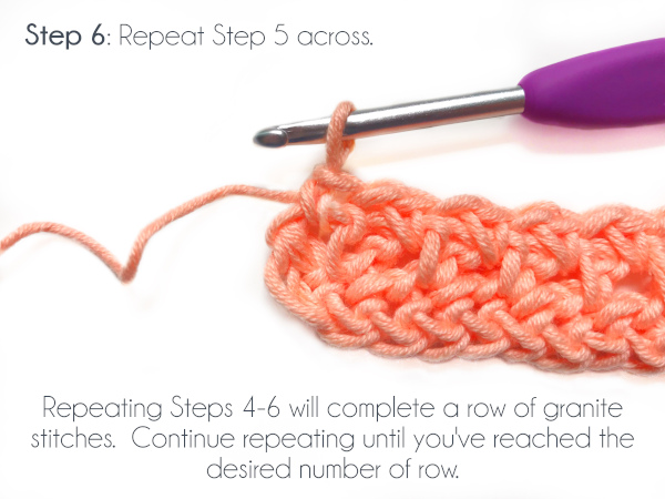 "Two rows of granite stitch has been worked over a row of foundation single crochet. Text at the top of the photo reads: ""Step 6: Repeat Step 5 across."" Text at the bottom of the photo reads ""Repeating Steps 4-6 will complete a row of granite stitches. Continue repeating until you've reached the desired number of rows."""