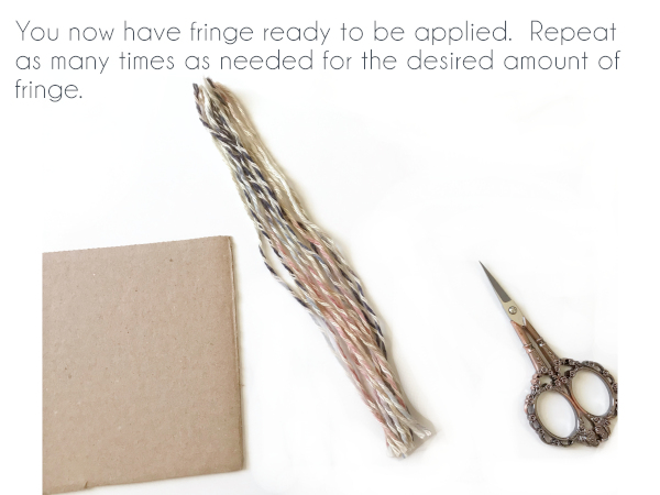 Text: You now have fringe ready to be applied. Repeat as many times as needed for the desired amount of fringe.