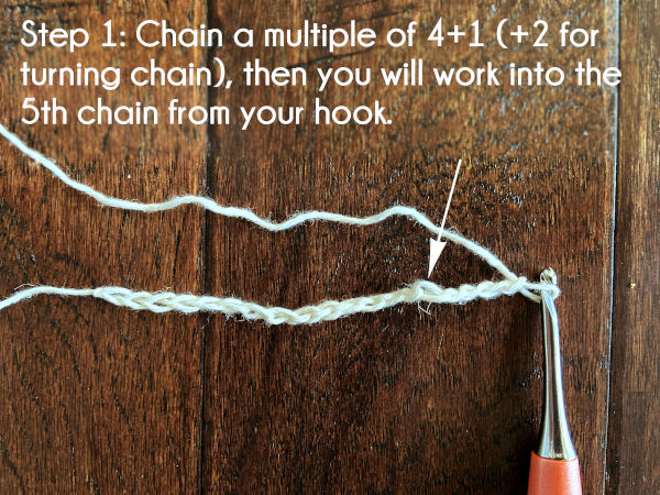 Text: Step 1: Chain a multiple of 4+1 (+2 for turning chain), then you will work into the 5th chain from your hook.
