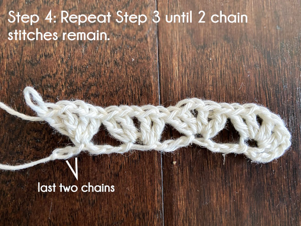 Text: Step 4: Repeat Step 3 until 2 chain stitches remain.