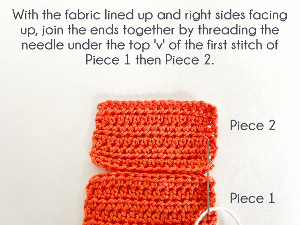 """Two swatches are lined up one on top of the other, the bottom swatch is labeled """"Piece 1"""" and the top swatch is labeled """"Piece 2."""" Text reads: """"With the fabric lined up and right sides facing up, join the ends together by threading the needle under the top 'v' of the first stitch of Piece 1 then Piece 2."""""""