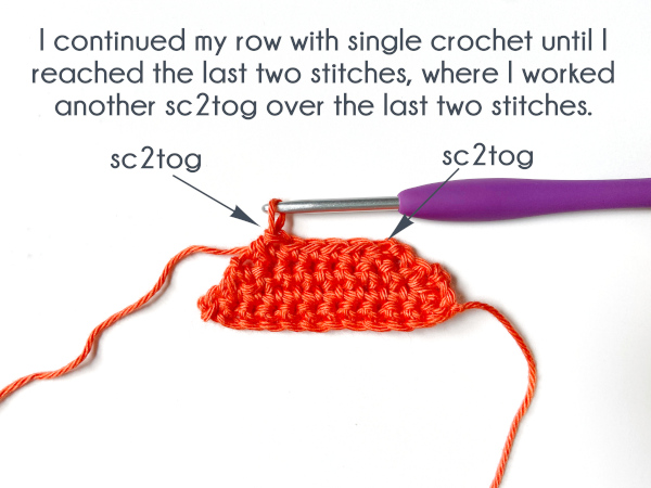 """The swatch shows a single crochet decrease worked in both the first two and last two stitches from the previous row, with arrows pointing to the top of the decrease stitches. Text reads, """"I continued my row with single crochet until I reached the last two stitches, where I worked another sc2tog over the last two stitches."""""""