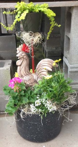 Chicken Lamp Planter