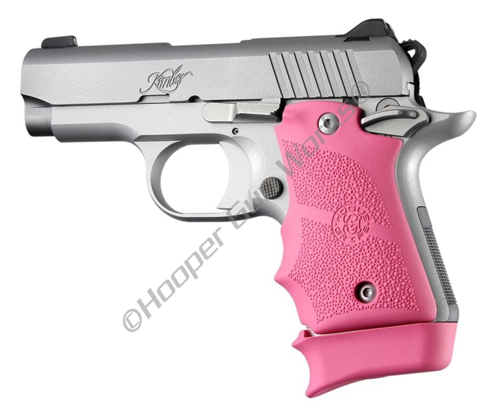 Hogue Grips for Kimber Micro 9 Ambi Safety Rubber Grip with Finger Grooves  Pink 39087