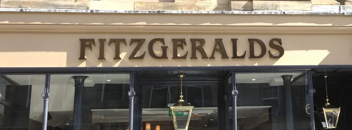 Built up meta letters for fitzgeralds