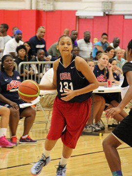 Kysre Gondrezick is one of 19 players returning to USA Basketball in 2014 with prior experience from the 2013 USA Women's U16 National Team Trials. Photo: USA Basketball.