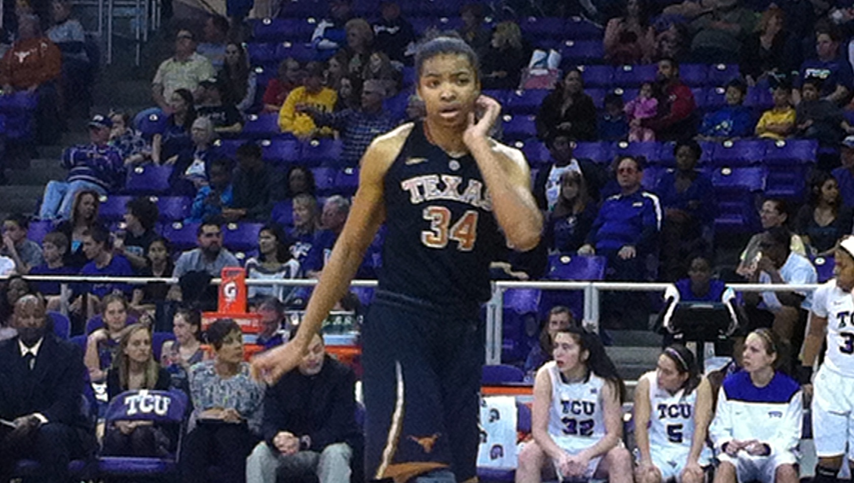 McGee-Stafford's double-double helps Texas survive TCU in battle between young teams