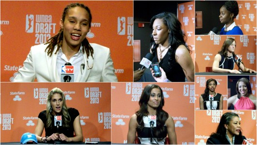 2013 WNBA Draft picks and league president Laurel Richie talk to the media on draft day.