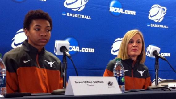 BERKELEY, Calif., March 19, 2015 -- Texas center Imani McGee-Stafford and head coach Karen Aston.