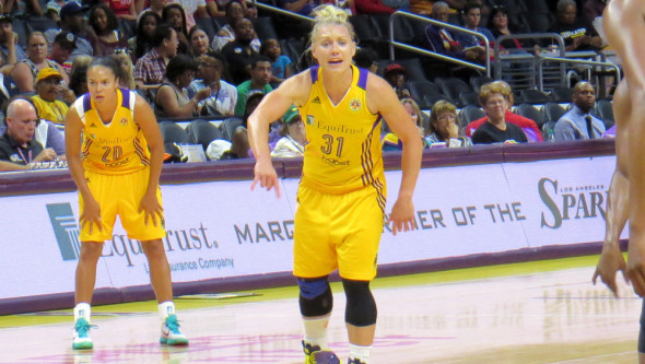 LOS ANGELES - July 2, 2015. Kristi Toliver and Erin Phillips.