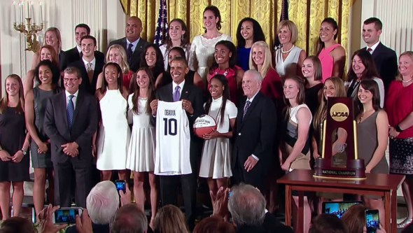 President Obama congratulates the NCAA women's champion, the University of Connecticut Huskies. September 15, 2015.