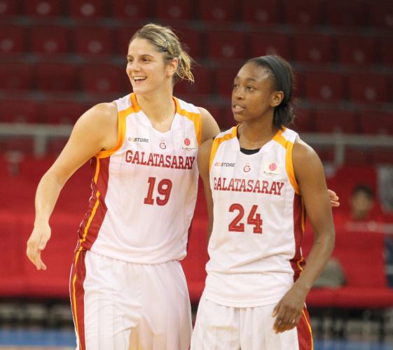 Jelena Dubljevic and Jewell Loyd playing for Galatasaray in Turkey. Photo: FIBA/Galatasaray.