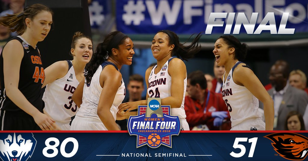 Morgan Tuck leads UConn in Final Four win over Oregon State, 80-51, Huskies return to title game