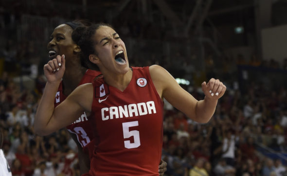 Kia Nurse during the gold medal game at the Toronto 2015 Pan Am Games.  Photo: Jason Ransom/COC.
