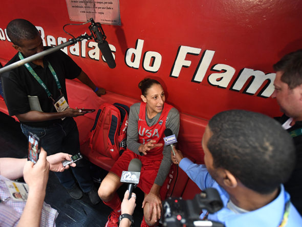 Diana Taurasi talks to the media at practice during the Rio 2016 Olympic games on August 11, 2016. Photo: Jesse D. Garrabrant/NBAE via Getty Images.