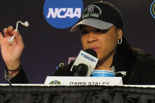 April 2, 2017 (DALLAS) - South Carolina head coach Dawn Staley. Photo: Cheryl Coward.