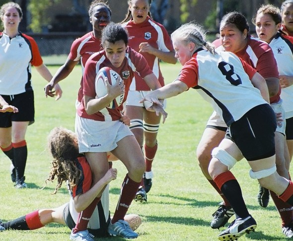 Jessica Watkins playing Stanford Women's Rugby vs. Chico State, April 8, 2007. Photo: Shannon Cotterell.
