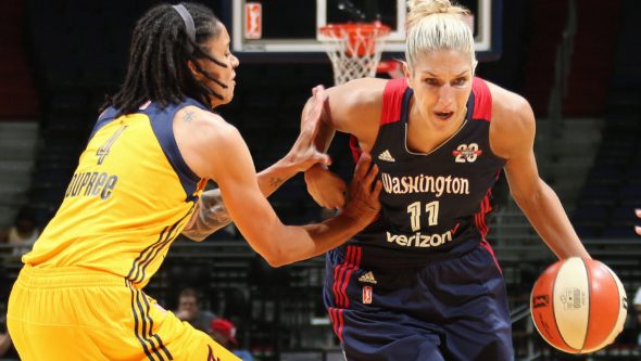 Indiana's Candice Dupree and Washington's Elena Delle Donne. NBAE/Getty Images.