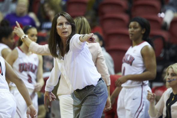 UNLV head coach Kathy Olivier (Aaron Mayes / UNLV Photo Services).