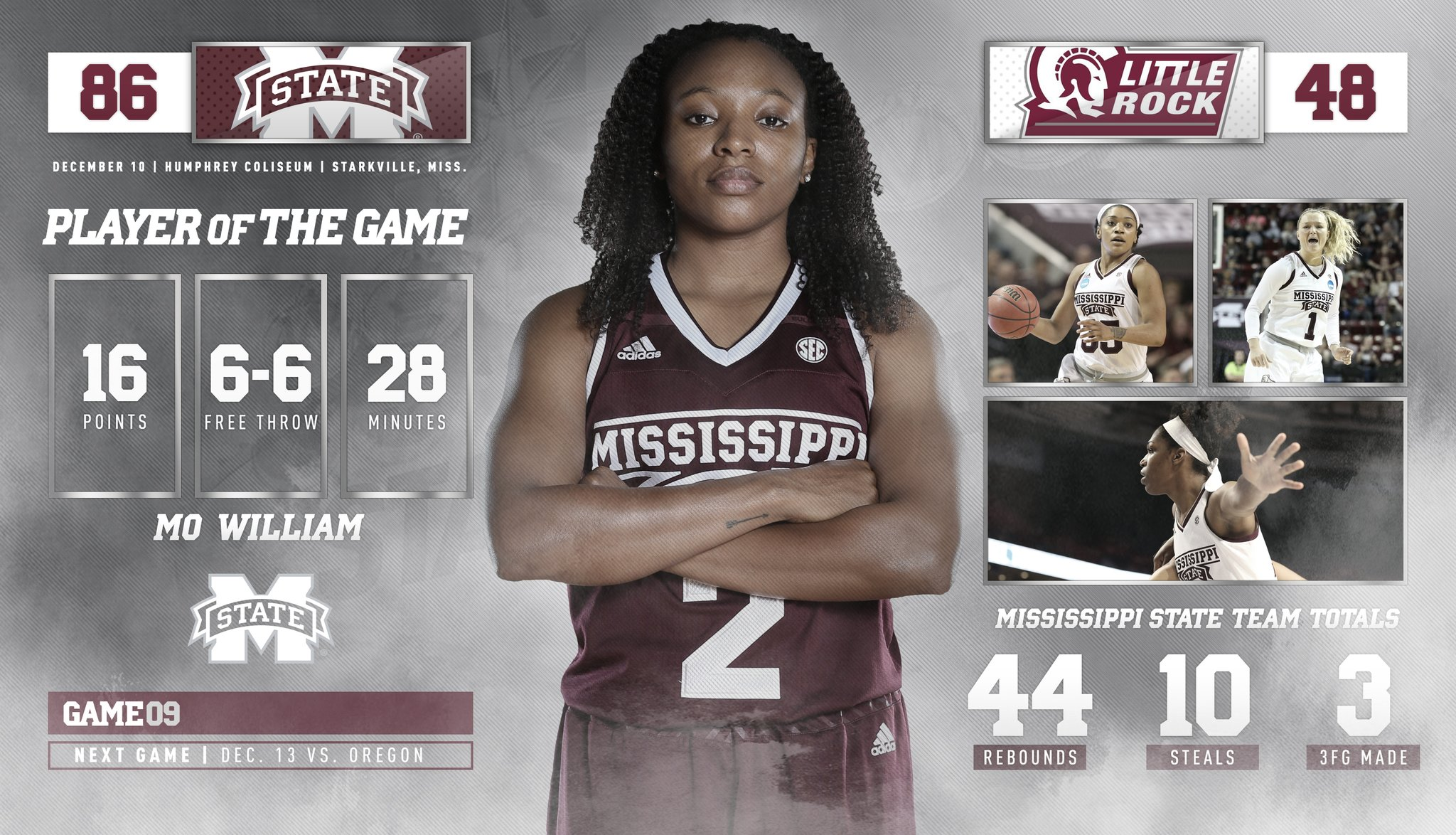 Mississippi State honors Morgan William, cruises to 86-48 win over Little Rock to remain unbeaten