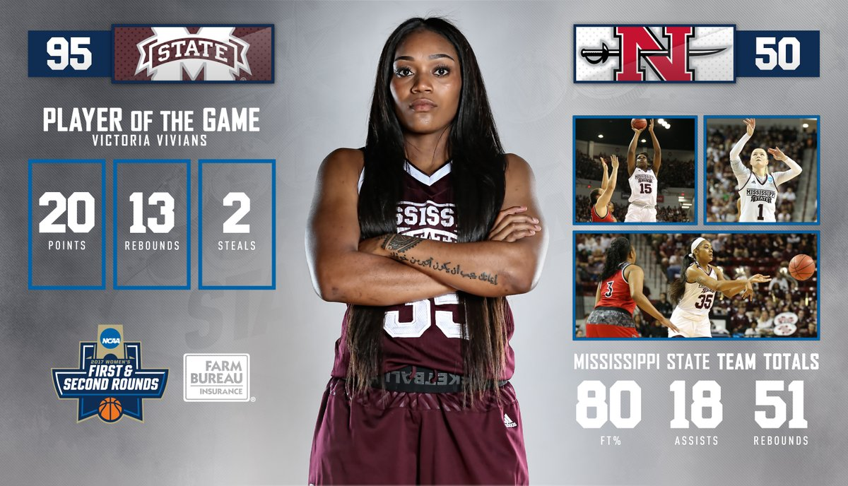 No. 1 seed Mississippi State rolls past No. 16 Nicholls State in front of sold out crowd to advance to NCAA second round