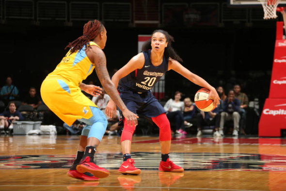 June 19, 2018 (WASHINGTON, D.C.) - Washington Mystics guard Kristi Toliver. Photo: NBAE/Getty Images.
