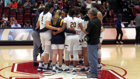 Nov. 18, 2018 - Cal postgame after playing Pacific at Stanford's Maples Pavilion.