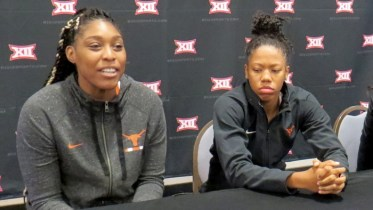 Jatarie White and Sug Sutton at 2018 Big 12 women's basketball media day.