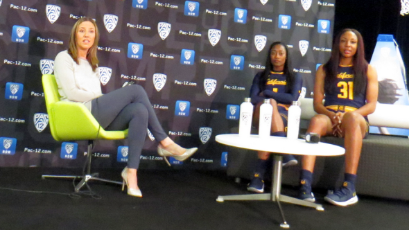 (San Francisco, CA) Cal's Lindsay Gottlieb with players Asha Thomas and Kristine Anigwe at the 2018 Pac-12 Media Day