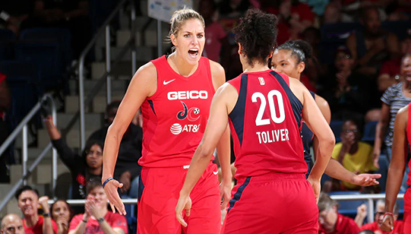 Elena Delle Donne and Kristi Toliver. Photo: NBAE/Getty Images.