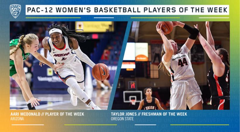 Weekly Pac-12 Awards (11/18/19): Arizona's Aari McDonald and Oregon State's Taylor Jones earn honors