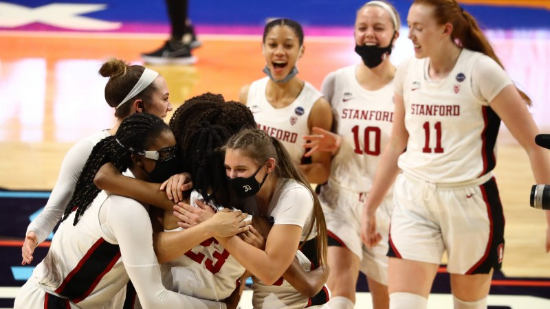 SAN ANTONIO, TX - APRIL 2: Stanford Cardinal players celebrate their win over the South Carolina Gamecocks in the semifinals of the NCAA Women's Basketball Tournament at Alamodome on April 2, 2021 in San Antonio, Texas. (Photo by Justin Tafoya via Getty Images)