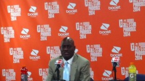 Michael Cooper during a postgame press conference at the 2014 WNBA All-Star game.