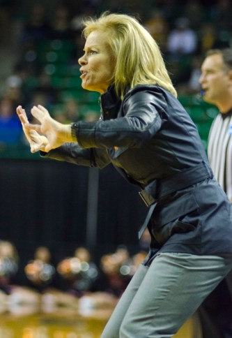 WACO, Texas (March 24, 2013) - Florida State head coach Sue Semrau coaches her team vs. Princeton during the first round of the NCAA tournament. Photo: Robert Franklin, all rights reserved.