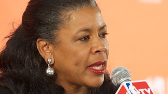 """WNBA president Laurel Richie meets the press, talks about the season, marketing and """"the kiss"""""""