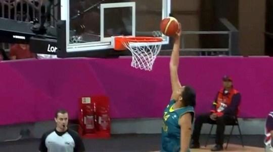 Liz Cambage dunking vs. Russia.