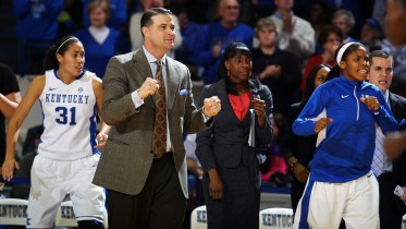 Kentucky coach Matthew Mitchell on the sidelines as his team defeated Florida, 76-69, in Lexington's Memorial Coliseum on Thursday, January 3, 2013. Photo by Britney McIntosh, Kentucky Athletics.