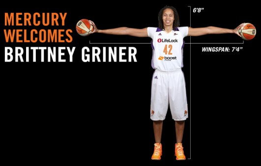 Phoenix Mercury website splash page featuring Brittney Griner.