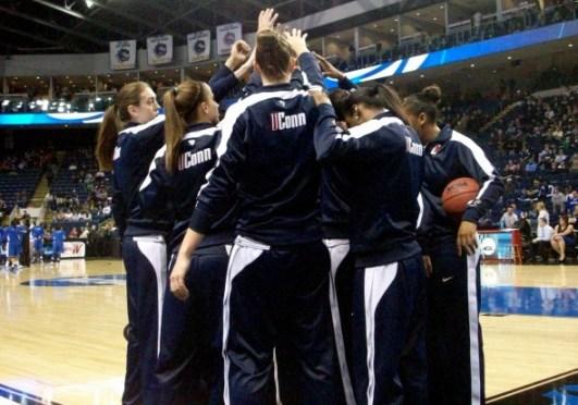 BRIDGEPORT, Conn. (April 1, 2013) - UConn players before facing Kentucky.