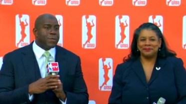 Magic Johnson and WNBA president Laurel Richie.
