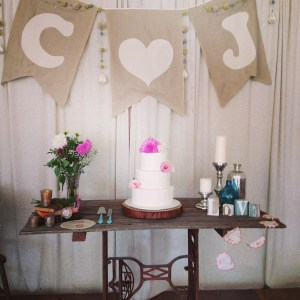 Vintage Sewing Trestle Table