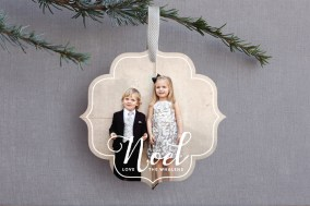 White Noel Ornament Card